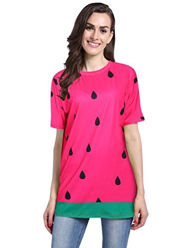 Loveternal Women's Casual Festival Halloween Party Watermelon Print Short Bat Sleeve T-Shirt Loose Tops Dress