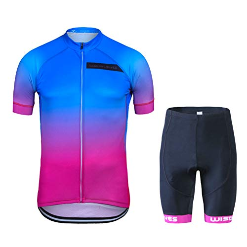 Men's Cycling Jersey Set Short Sleeve Road Bike Clothing Quick-Dry Bicycle Shirt Outdoor Riding Sportswear (Leafs Jersey)