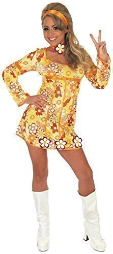 0ab5a85ebb3 Ladies 4 Piece Yellow Hippie Hippy 60s 70s Fancy Dress Costume Outfit UK 8- 26
