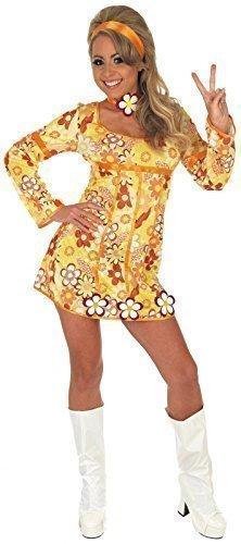 Ladies 4 Piece Yellow Hippie Hippy 60s 70s Fancy Dress Costume ...