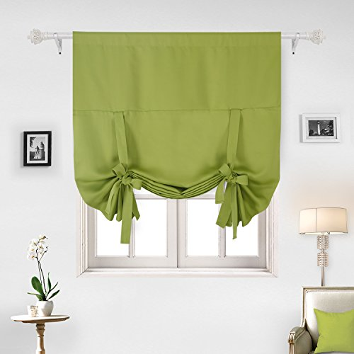 Deconovo Tie Up Curtain Rod Pocket Blackout Insulated Curtains For Bedroom  Greenery 46W X 63L One Panel