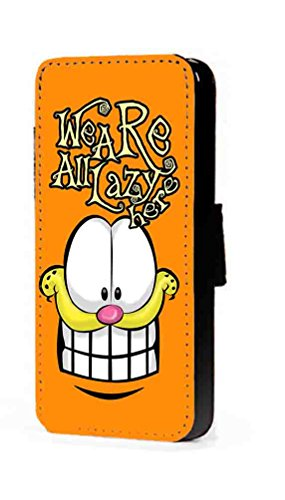 c riveras Garfield Lazy Inspired Phone Case Cartoon Fanart Faux Leather flip Wallet Mobile Cover for Samsung Galaxy S3 (Cartoon Galaxy S3 Phone Flip Case)