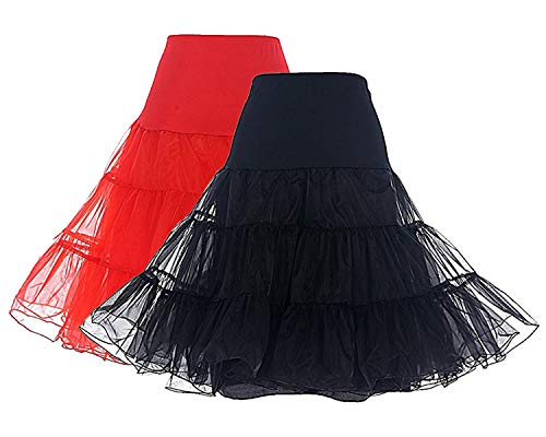 DRESSTELLS Women's Vintage Rockabilly Petticoat Skirt Tutu 1950s Underskirt 2-Pack(Black+red) L