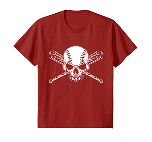 (Kids BASEBALL SKULL - skeleton - bat - ball - game T-shirt 8 Cranberry)