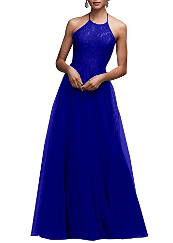 Beauty Bridal Bridesmaid Maxi Bridesmaid Dresses Long For Women Formal Evening Party Prom Gown Lace J41 (16,Royal Blue)
