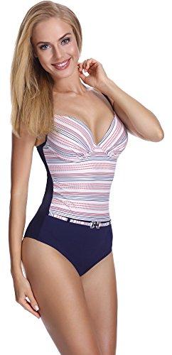 Femme Up Pièce 1 Vêtement Feba Amincissant Été Motif Modelant F28 Monokini Plage 400 De Bain Push Maillot Opf5qwS