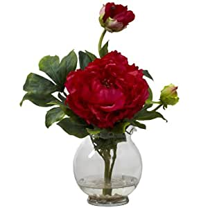 Nearly Natural 1278-RD Peony with Fluted Vase Silk Flower Arrangement, Red