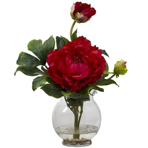 New Peony w/Fluted Vase Silk Flower Arrangement(Red) (Vegetable Peony Bowl)