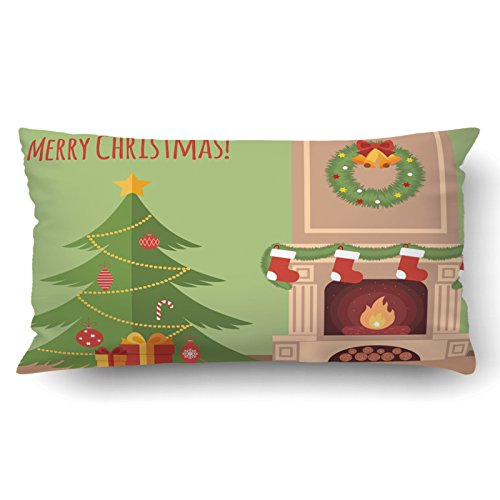 Emvency Pillowcases Xmas Dec Christmas Tree By The Fireplace Illustration Flat Style Pillow Case Cushion Cover Case Throw Pillow Case Lumbar 20x36 Inch by Emvency