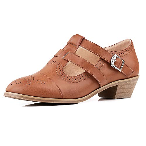 Lucksender Women's Cut Out Leather Buckle Belt Breathable Vintage Oxford Block Low Heel Pumps Shoes (6.5, Brown) Cut Out Leather Pumps