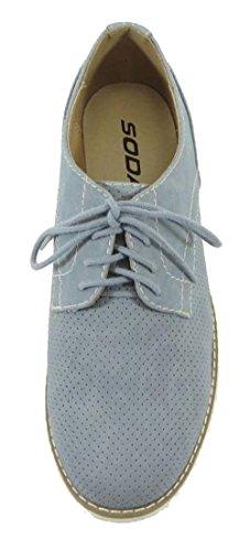 Soda Kvinna Klassisk Spets Upp Platt Balett Loafers Oxford Sneaker Skor Ljusblå