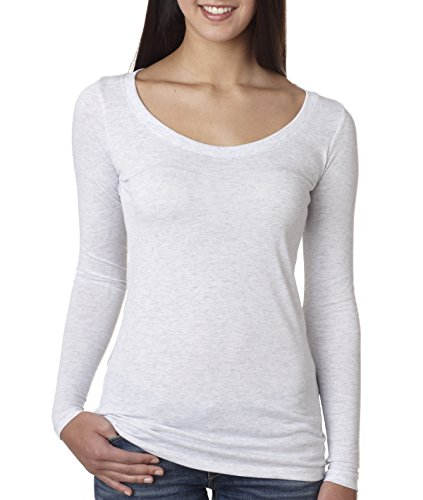 Next Level Womens Tri-Blend Long-Sleeve Scoop Tee (6731) -HEATHER WH -L