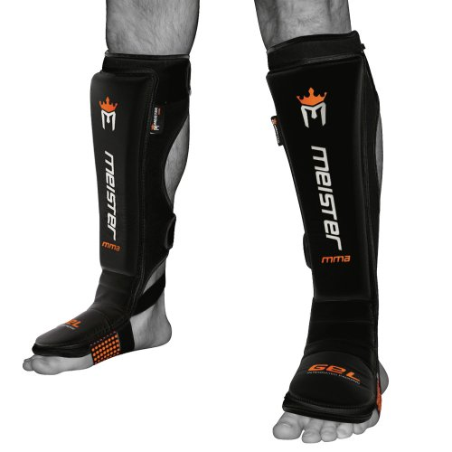 Meister Edge Leather Instep Shin Guards w/Gel Padding (Pair) - Black