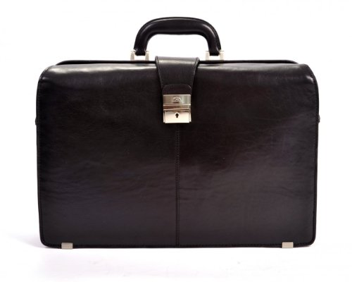 CUSTOM PERSONALIZED INITIALS ENGRAVING Tony Perotti Mens Italian Bull Leather Benevento Double Compartment Lawyer's Leather Laptop Briefcase in Black by Tony Perotti