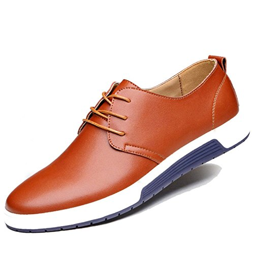 Better Annie Men Shoes Casual Leather Fashion Trendy Black Blue Brown Flat Shoes For Men Brown Casual Shoes 8.5