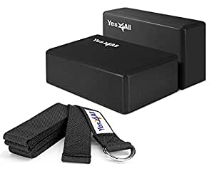 Yes4All Yoga Blocks and Strap Set – Yoga Foam Block 9x6x4 inch (Set of 2) and Yoga Strap with D-Ring – Yoga Blocks and Yoga Stretching Strap (Black)