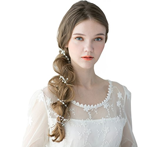 SWEETV Handmade Rhinestone Hair Vine Long Wedding Headband Pearl Head Pieces for Women (33.5 inches)