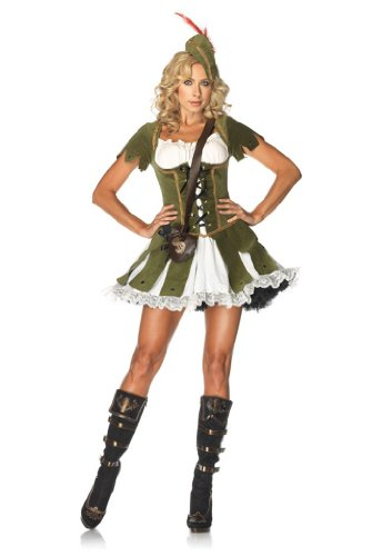 (Leg Avenue Women's 3 Piece Thief Of Hearts Robin Hood Costume, Green/Multi,)