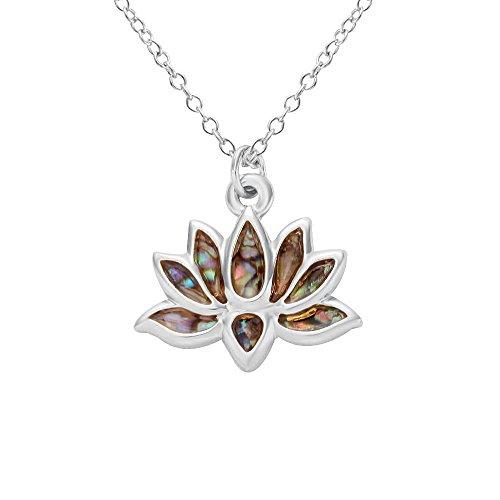 NOUMANDA Lotus Flower Metal Abalone Shell Necklace Pendants, Fashion Pendants (Silver)