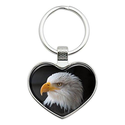 Eagle Keychain Bald (Stoic Bald Eagle Heart Love Metal Keychain Key Chain Ring)