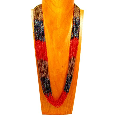 """32"""" Multi Strand Glass Beaded Red/Gold Color Block Style Handmade Necklace Bali Bay Trading Co"""