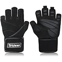 "Trideer Padded Anti-Slip Weight Lifting Gloves with 18"" Wrist Wraps, Pro Gym Gloves Support for Weightlifting, Cross Training, Gym Workout, Fitness, Bodybuilding, Best for Men & Women (PAIR)"