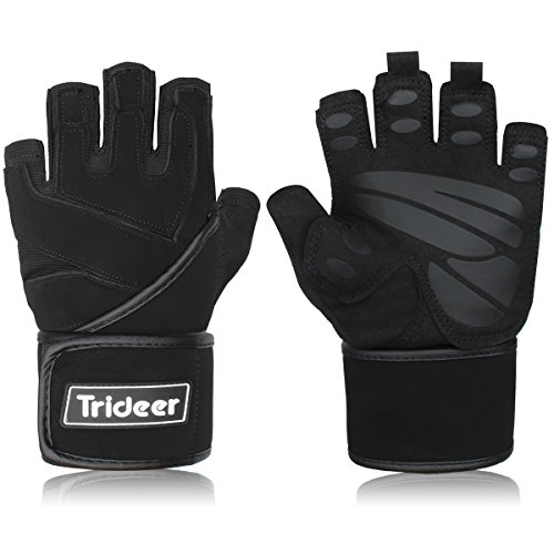Trideer Weight Lifting Gloves, Gym Workout Training Crossfit Fitness Bodybuilding Exercise Glove, Half Finger/Fingerless Microfiber&Silica Gel Grip with 18
