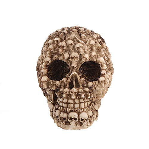 Hulorry Halloween Creative Skull Decorations, Resin Replica Skull Statues Simulation Human Skull Model Ornaments Home Decor Sculptures