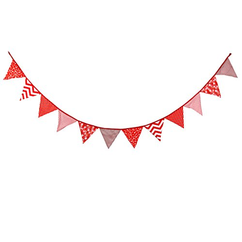 (Multi Colored Fabric Bunting For Party Birthday Wedding Anniversary Celebration Baby Shower(Red))