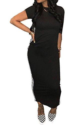 JireH Womens Short Sleeve Plaid Stripe Black White Plaid Bodycon Long - Checkerboard Cars
