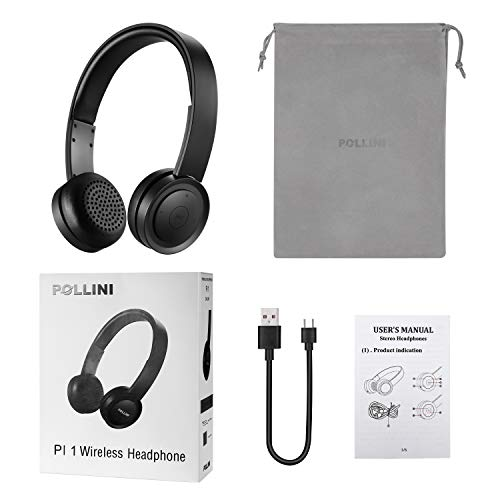 Bluetooth Headphones Over Ear, pollini Wireless Headset V5.0 with Deep Bass, Soft Memory-Protein Earmuffs and Built-in Mic for iPhone/Android Cell Phone/PC/TV(Black)