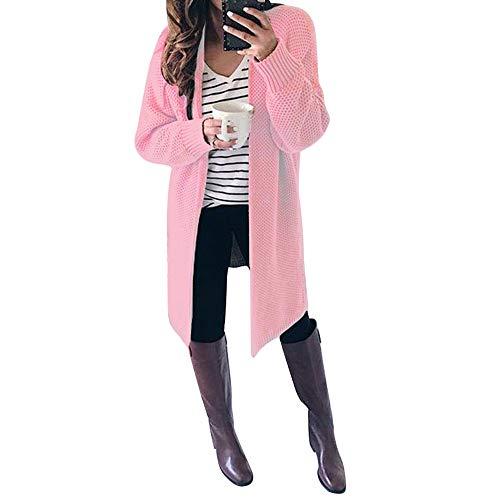 Elegante Manica Solido Lunga Anteriore Pink Sportiva Manica Donna Sportiva Autunno Del Vestito Maglione Casual Inverno Invernale Lunga Tuta Morwind Open Cardigan Giacca UXxq4w