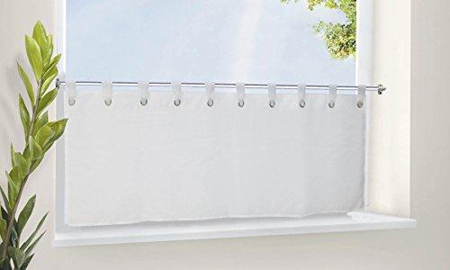 Scheibengardine Voile Gardine Ösen mit Bordüre , 50x160 (HxB), Weiß, 610710