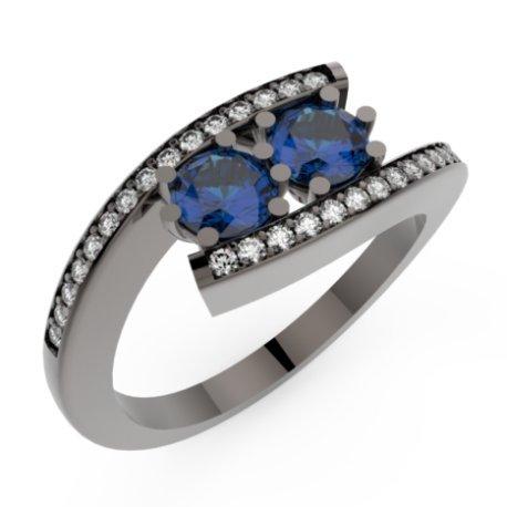 HABY DUO P Bagues Or Noir 18 carats Saphir Bleu 1,2 Rond