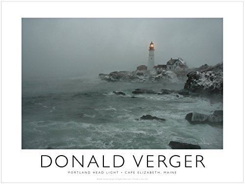 Portland Lighthouse in the Fog. Unique 18x24 Fine Art Photography Poster Print. Best Quality Gift for Him & Her. Great Birthday, Christmas, Mothers Day & Valentines Gifts for Men & Women