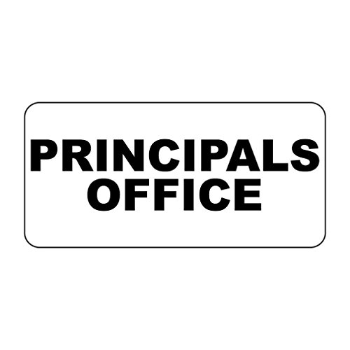 Principals Office Black Retro Vintage Style LABEL DECAL STICKER Sticks to Any Surface - 8 In X 12 In With Holes
