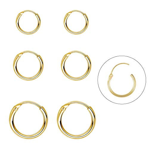 Silver Hoop Earrings- Cartilage Earring Endless Small Hoop Earrings Set for Women Men Girls,3 Pairs of Hypoallergenic Sterling Silver Tragus Earrings Nose Lip Ring(8/10/12mm) (3 Pairs(8/10/12mm)-Gold)