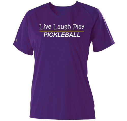 Pickleball Rocks Live Laugh Play Purple Dri Fit - Medium