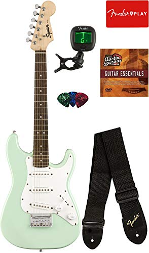 Squier by Fender Mini Strat Electric Guitar – Surf Green Bundle with Tuner, Strap, Picks, Austin Bazaar Instructional DVD, and Polishing Cloth