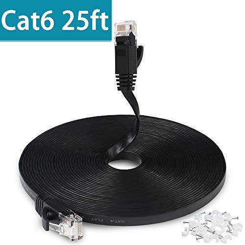 25 FT Ethernet Cable, Cat6 Wireless Network Cable for PS4 Xbox One, Flat Gigabit Ethernet Cord with RJ45 Snagless Connector, Computer LAN Internet Cable for Switch, Ethernet Adapter - Black