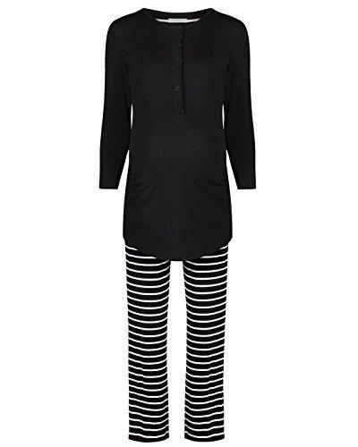 The Essential One - Damen Umstands - Stillpyjama Streifen - Schwarz - EOM203