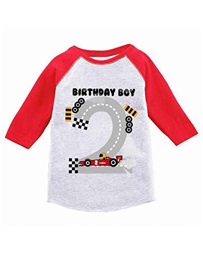 - Awkward Styles Boys Birthday Toddler Raglan Race Car 2nd Birthday Party Jersey Red 3T
