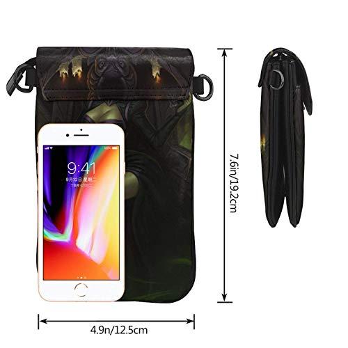 Hdadwy mobiltelefon crossbody väska Maleficent kvinnors crossbody handväskor handväska lätta väskor läder mobiltelefon hölster plånbok fodral axelväskor med justerbar rem