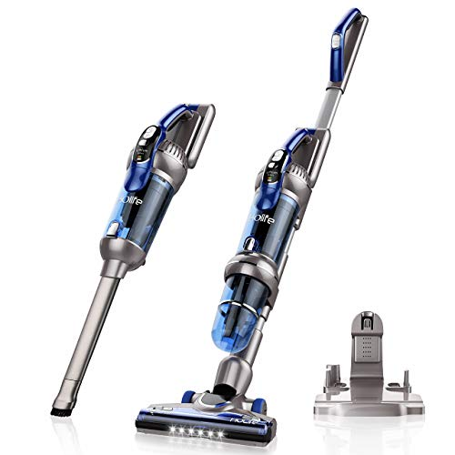 HoLife Cordless Stick Vacuum Cleaner, 2-in-1 Bagless 20Kpa Upright and Handheld Vacuum, Brushless Motor 380W High-Power 2500mAh Li-ion Rechargeable Battery Corner Lighting Upright Charging Base