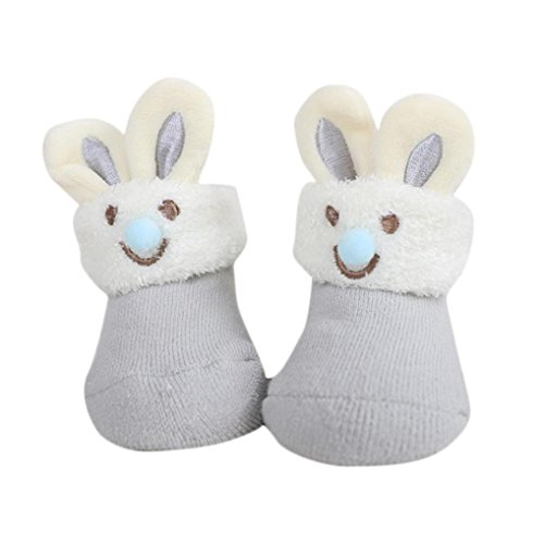 - Baby Boys Girls Winter Warm Boots Newborn Rabbit Ears Floor Socks Anti-Slip Slipper Baby Socks (0-6M, Gray)