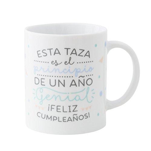 Mr. Wonderful Taza es el Principio de un año Genial ¡Feliz cumpleaños, Porcelana, Blanco, 10 cm
