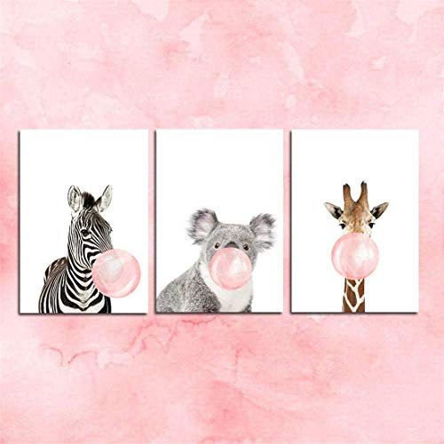 JESC Canvas Wall Art Baby Animal Nursery Prints with Zebra Giraffe Koala Blowing Bubble Gum for Kids Children Bedroom Living Room - Unframed -