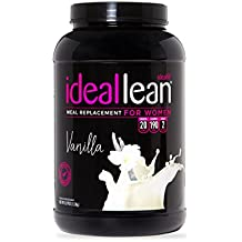 IdealLean, Meal Replacement Shake, Vanilla, 20g Whey Protein, 190 Calories, 4.5g Fat, 2g Sugar, 20g Carb, Balanced Nutrition - 30 Servings