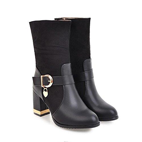 ZQ@QX El otoño y el invierno de cabeza redonda Taiwán impermeable grueso con zapatos de tacón de moda cinturón lateral versátil y cremallera botas cortas botas hembra black