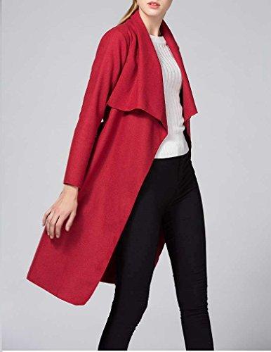 ... OUMIZHI Damen Mantel Trenchcoat mit Gürtel Onesize Lang und Kurz Rot  qPs4bzA2 b6a46a7b13